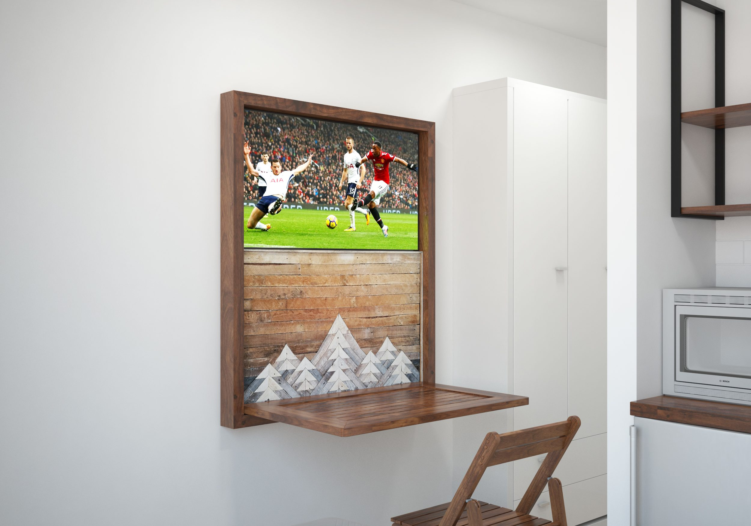 Fall down table with TV